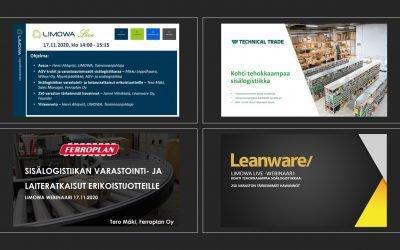 Tallenne, LIMOWA Live – Kohti tehokkaampaa sisälogistiikkaa 17.11.2020, klo 14.00-15:15,