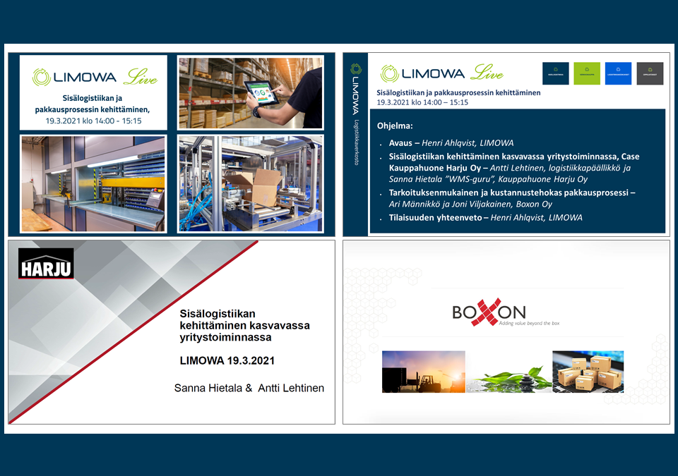 Tallenne: LIMOWA Live, Sisälogistiikan ja pakkausprosessin kehittäminen -webinaari, 19.3.2021 klo 14
