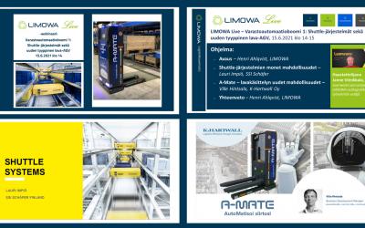 Tallenne LIMOWA Live – Varastoautomaatioboomi 1: Shuttle-järjestelmät sekä uuden tyyppinen lava-AGV, 15.6.2021